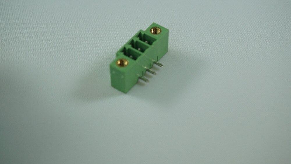 1000 piezas bloque terminal enchufable, 3,81mm header 3 polos de soldadura ángulo recto a través de verde agujero chapados en estaño Cruz 20020111-D031A01LF