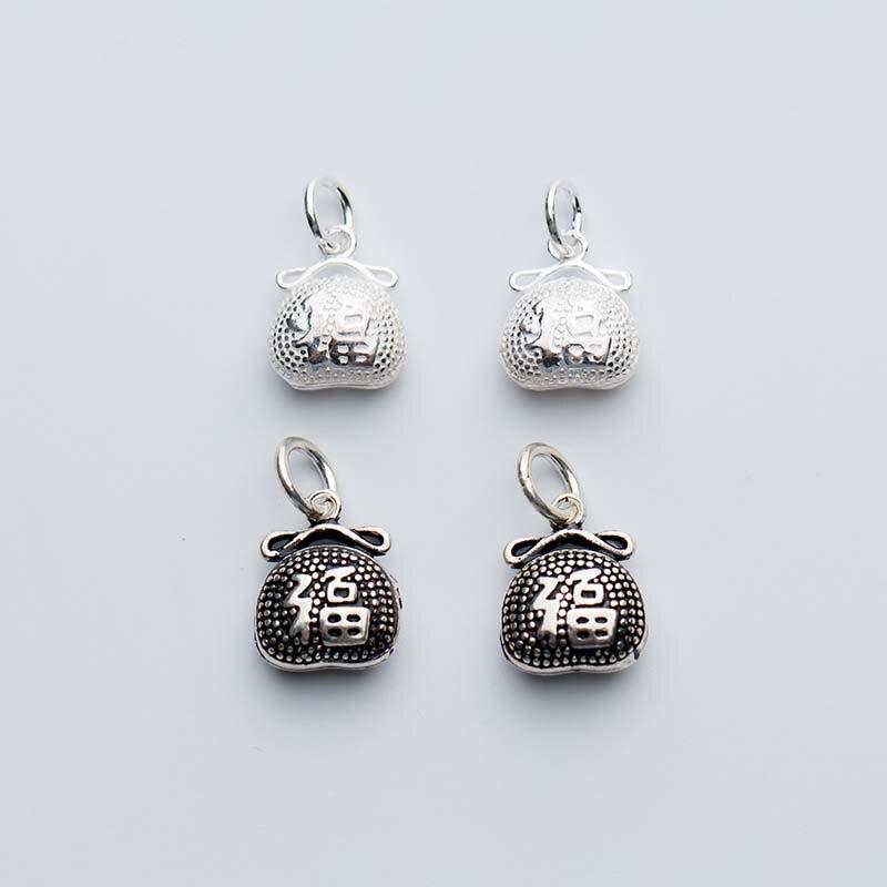 Bolsa de dinero de Plata de Ley 925 amuletos letra China buena suerte plata tallada colgantes DIY joyas Haciendo regalo de cumpleaños