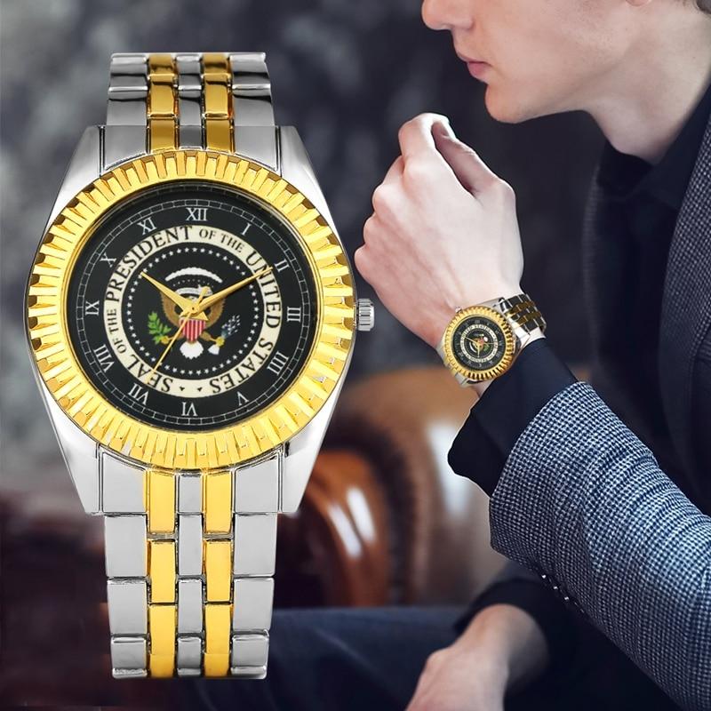 45th Presidente de la Casa Blanca de Estados Unidos Moneda de Oro Donald Trump hombres reloj sello del presidente de América colecciones de reloj