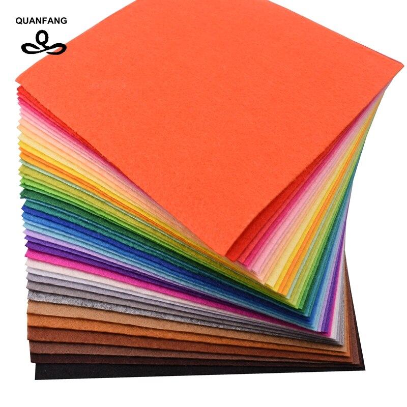 QUANFANG 40 uds/15 cm * 15cm 1mm tela no tejida de fieltro espesor paño de poliéster del paquete de decoración del hogar para muñecas para coser artesanías