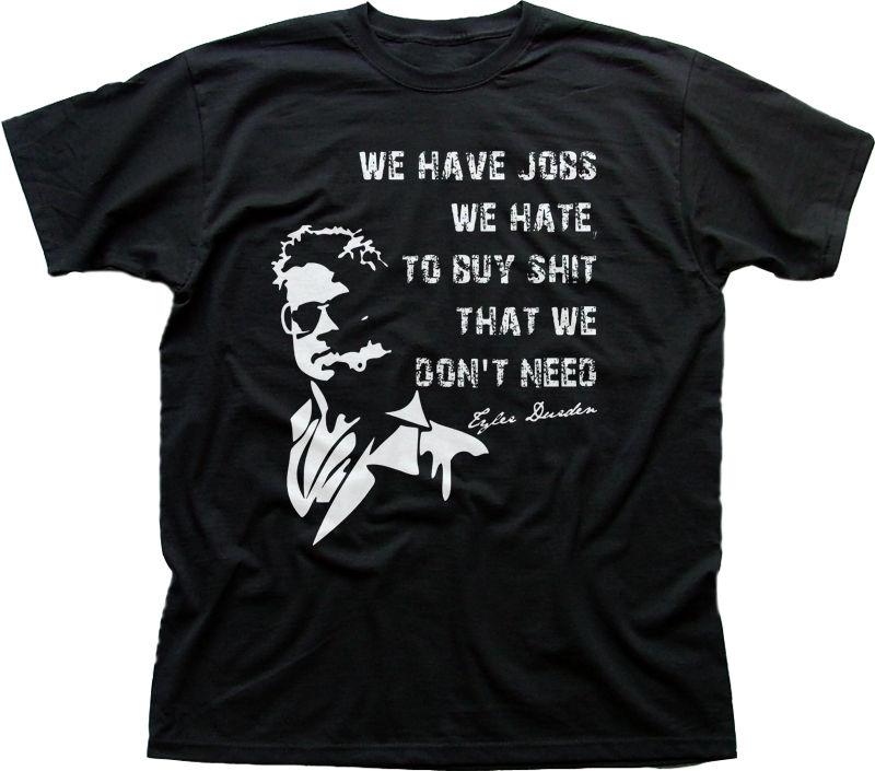 El Club de la pelea Tyler Durden Brad Pitt proyecto caos negro impreso camiseta FN9812 de algodón 100% T camisas ropa de marca Tops Tees