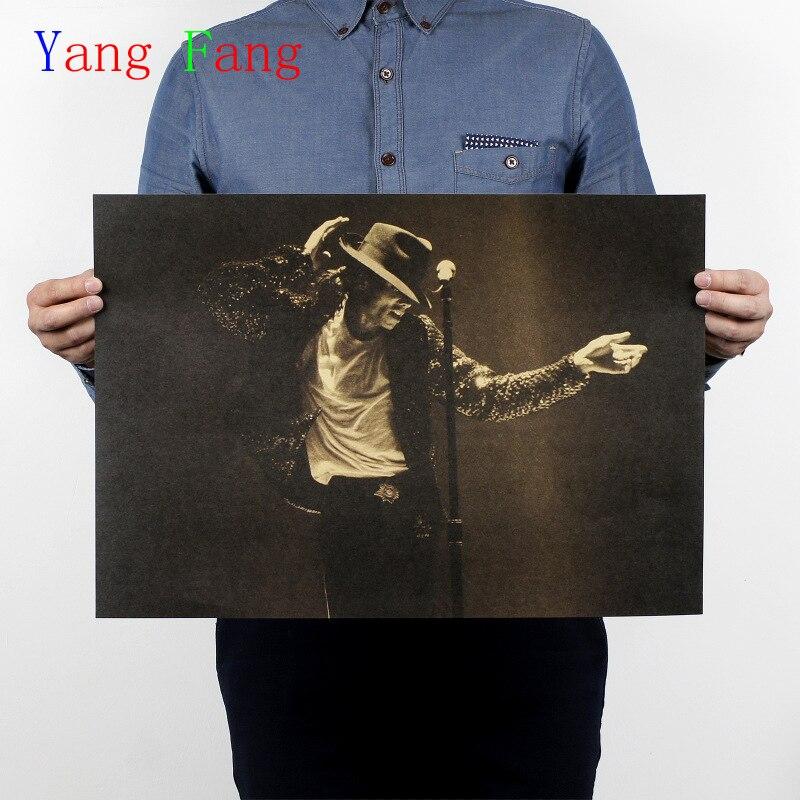 Pósteres clásicos Michael Jackson MJ Vintage de alta calidad viejo papel Retro Poster etiqueta de la pared 51*35 cm