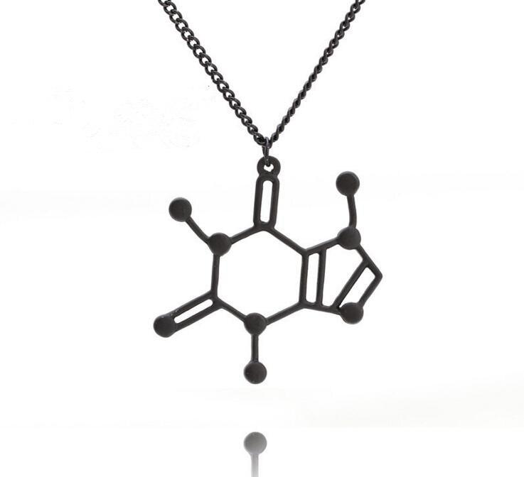 ¡Novedad! collar con colgante de molécula de cafeína con estructura química de dopamina en 3 colores, regalo de joyería bioquímica para hombres y mujeres
