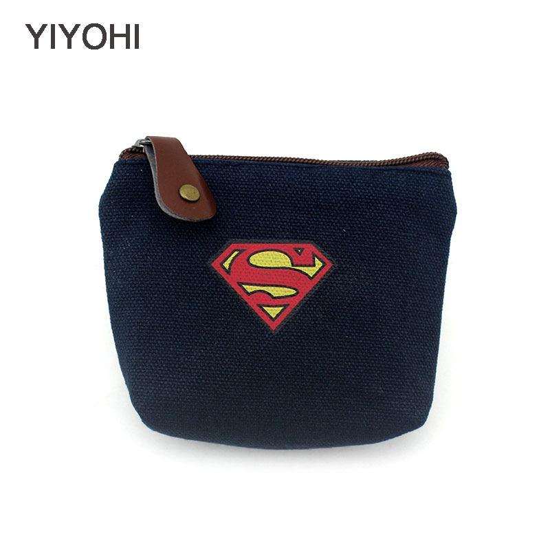 YIYOHI, monedero Unisex de lona en 3 colores, cartera a la moda de Superman, bolsa para llaves, Mini monedero creativo, carteras para regalo