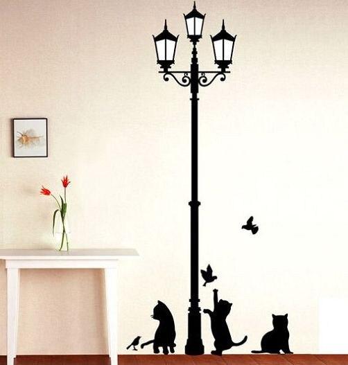 Envío Gratis, lámpara antigua Popular para gatos y pájaros DIY, etiqueta extraíble para pared, mural para salón, dormitorio infantil, decoración del hogar, casa LD833