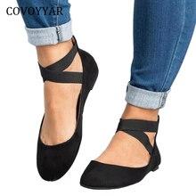 COVOYYAR Hot Women Ballet Flats 2019 Spring Autumn Elastic Strap Women Shoes Back Zipper Casual Black Shoes Big Sizes WFS944