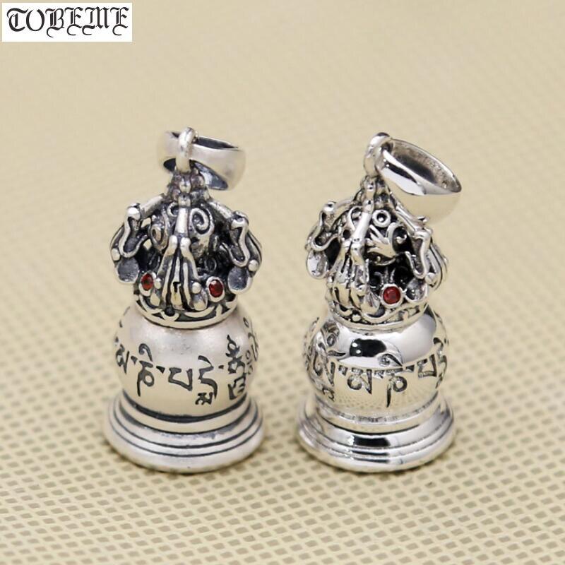 Real 925 prata tibetano seis palavras provérbio gau pingente de prata esterlina do vintage dorje ghau pingente budista caixa oração pingente