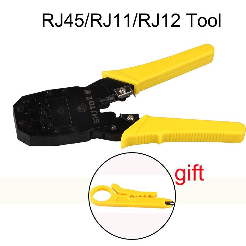 Kit de herramientas de red LAN portátil de alta velocidad PRO RJ45 RJ11 RJ12 CAT5 probador de Cable Utp y alicate crimpadora enchufe abrazadera PC herramienta de mano