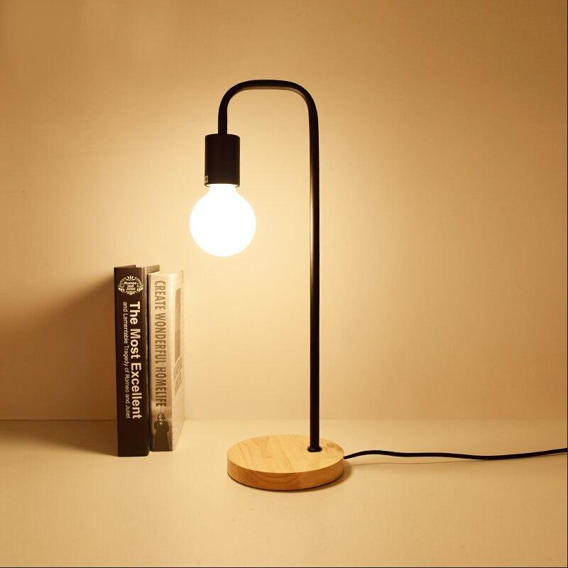 Loft lâmpada de mesa do vintage com 2 cores campo americano tradicional madeira edison candeeiros mesa nordic metal luminárias