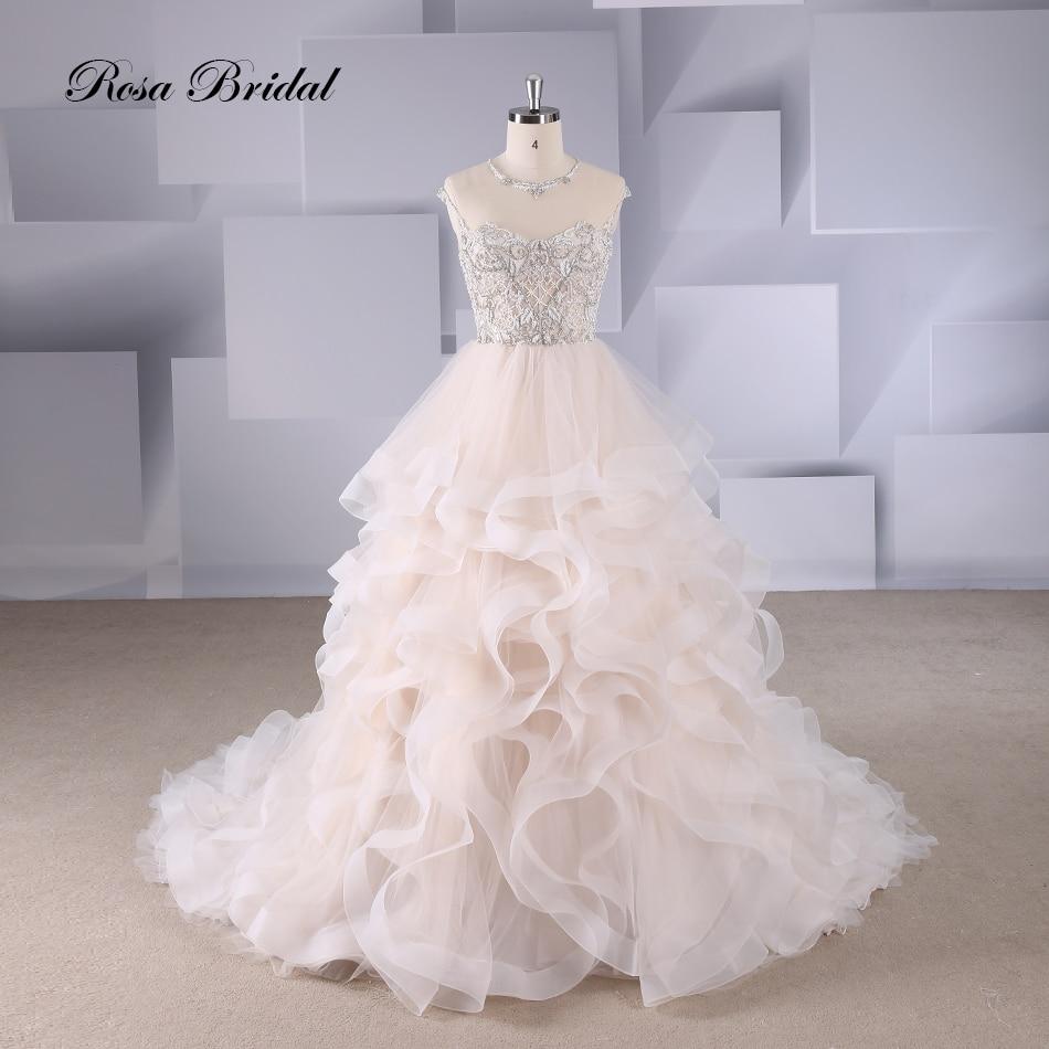 Rosabridal  wedding dress 2019 new design Round beading collar and heaving beading over tulle bodice lotus leaves skirt illusion
