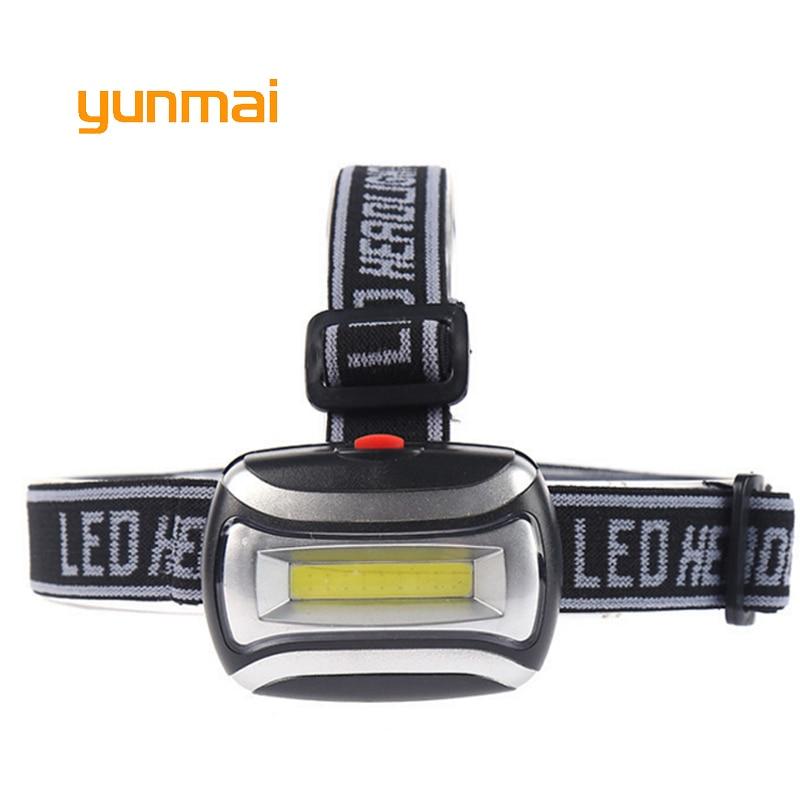 Yunmai Super brillante Led faro COB impermeable 3 modos linterna de cabeza senderismo y camping linterna para cabeza uso aaa batería