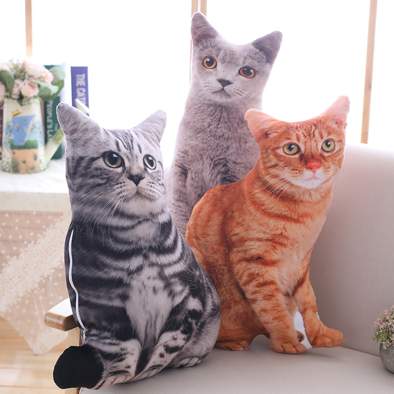 50cm Simulation Cat Pillows Soft Stuffed Animals Cushion Sofa Decor Cartoon Plush Toys for Children