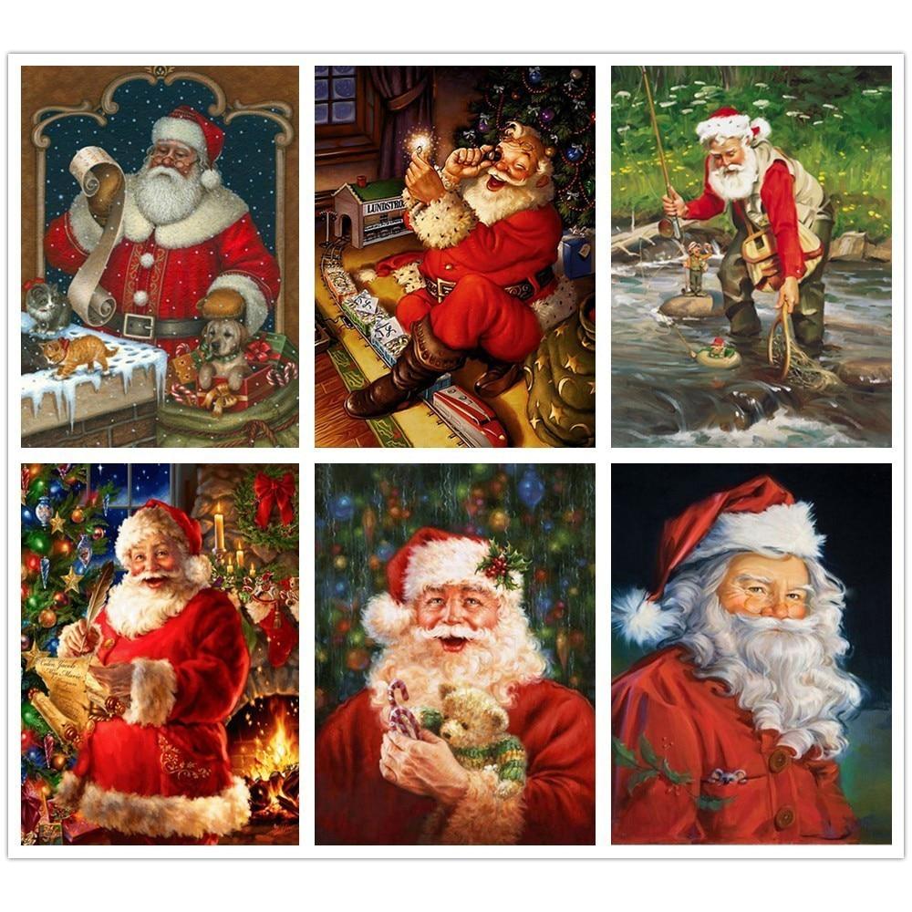 5d DIY Navidad diamante pintura completa cuadrado nueva llegada dibujos animados redondo diamante bordado imagen de Santa Claus de diamantes de imitación