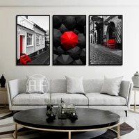 nordic poster retro red and black street building scenery canvas painting modern bedroom home decoration art wall pictures