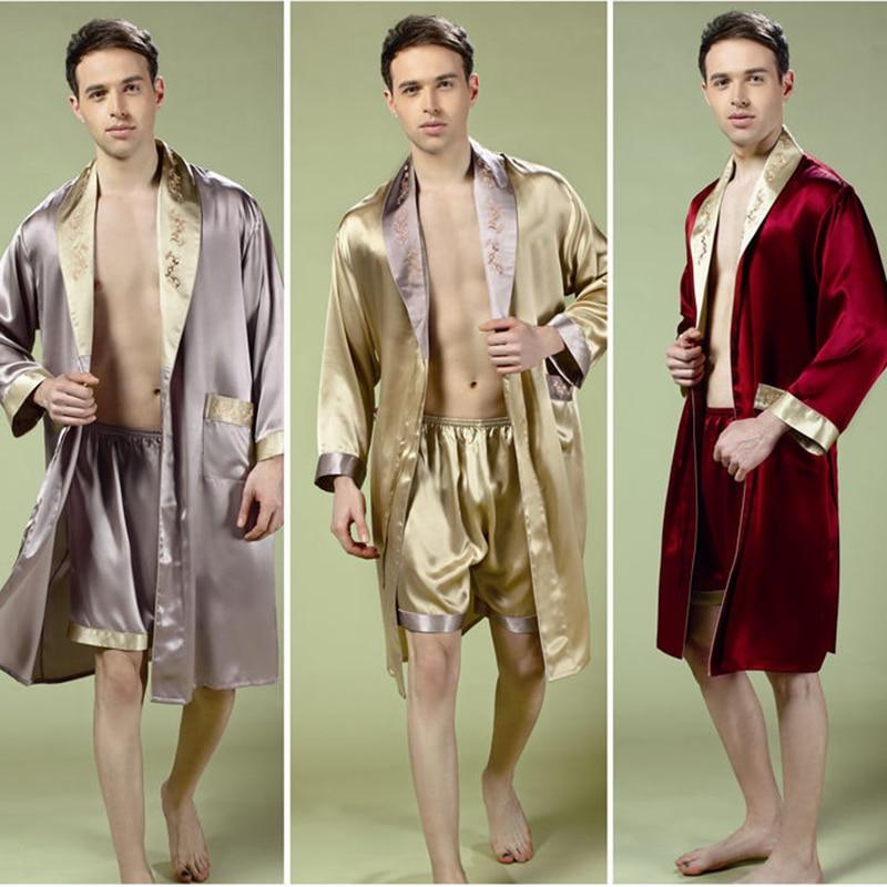 Натуральная шелк одежда для сна халаты мужские с длинным рукавом халат шорты из двух частей комплекты сексуальная кимоно шелкопряд шелк мужчины% 27 одежда для сна 2508