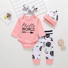 Ropa de bebé recién nacido bebé niña ropa mono + negro Rosa pantalones + sombrero y Diadema conjunto