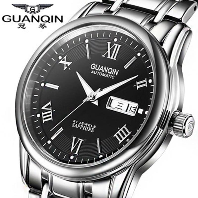 Top luxury brand GUANQIN Men's mechanical watches Fashion Waterproof sapphire luminous full steel Watches men Relogio Masculino
