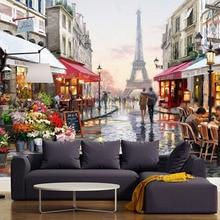 Murales personalizados estilo europeo Torre Eiffel calle romántica pintura al óleo Mural telón de fondo dormitorio Sala papeles tapiz decoración del hogar