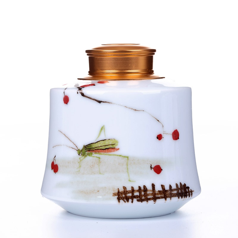 JHandpainted té Jingdezhen tarro de cerámica de gran tamaño tanque sellado Puer té Caddy tanque de almacenamiento de té
