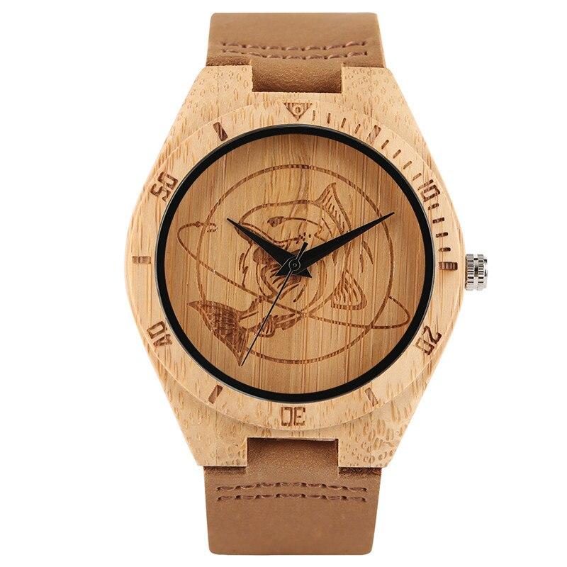 Reloj de cuarzo de bambú hecho a mano de alta calidad para hombres y mujeres con esfera de Diseño de tiburón esculpida correa de reloj de cuero genuino el mejor regalo para hombres