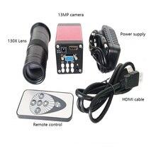 Fernbedienung 8X-130X C-Mount Objektiv 720 p 13MP HDMI VGA Industrie digital Mikroskop Kamera für löten telefon reparatur
