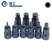 "PENGGONG Socket Set 1/2"" Hex Screwdriver Bits Drive Socket Adapter 4-17mm Auto Repair Hand Tools 1pc"