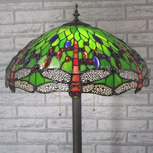 Lámpara de pie de cristal teñido de libélula estilo Tiffany de 16 pulgadas para sala de estar dormitorio decoración del hogar lámpara
