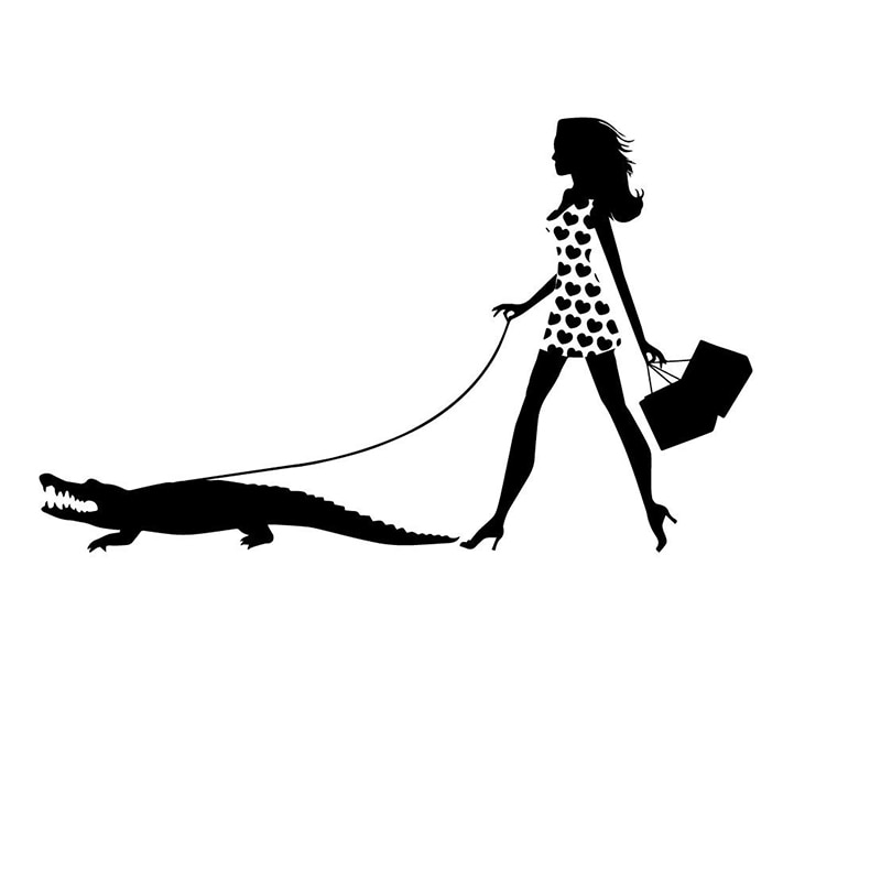 15*9.2cm Woman Walking Pet Alligator Decal Speshuls Fashion Window Bumper Sticker Car Beauty Temptation Body Car Stickers Decals