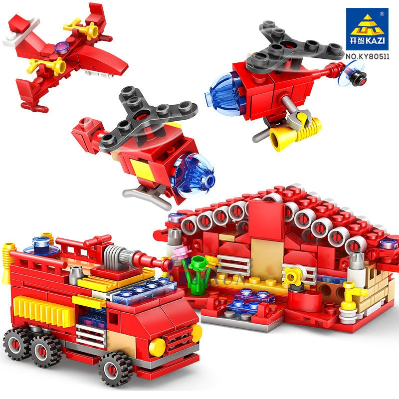414Pcs City Fire Station Building Blocks Sets Truck Firefighter Plane Brinquedos Hobbies Bricks Educational Toys for Children