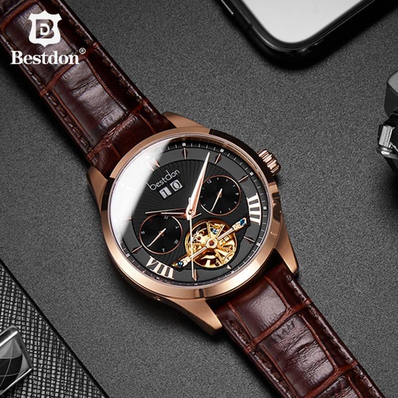 Bestdon-ساعة فاخرة للرجال ، توربيون ، ميكانيكية ، أوتوماتيكية ، هيكل عظمي ، جلد ، مقاومة للماء ، زرقاء