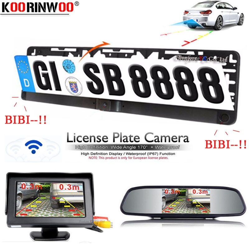 Marco de matrícula europea Koorinwoo, Parktronics + Cámara inversa, sensores de aparcamiento para coche, Monitor de espejo, alarma de aparcamiento retrovisor