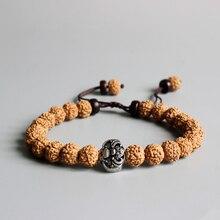 Bouddhisme tibétain Rudraksha graine OM Mala perles Vintage chauve-souris amulette charme hommes Bracelet en bois naturel perlé bijoux réglable