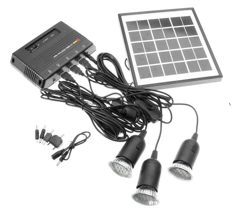 4W solar power system .5V portable solar power bank capacity 5000mah 4W solar panel& 3pcs LED light& USB charger. Free shipping