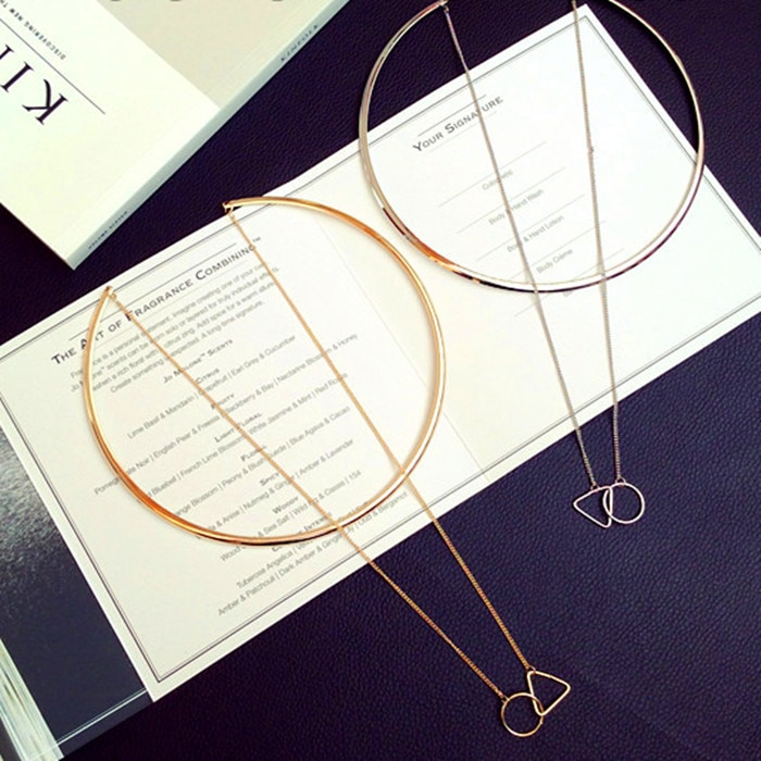 Fashion Women Gold Big Circle Choker Necklace Chain Enamel Triangle Torques Necklaces Pendants Wholesale