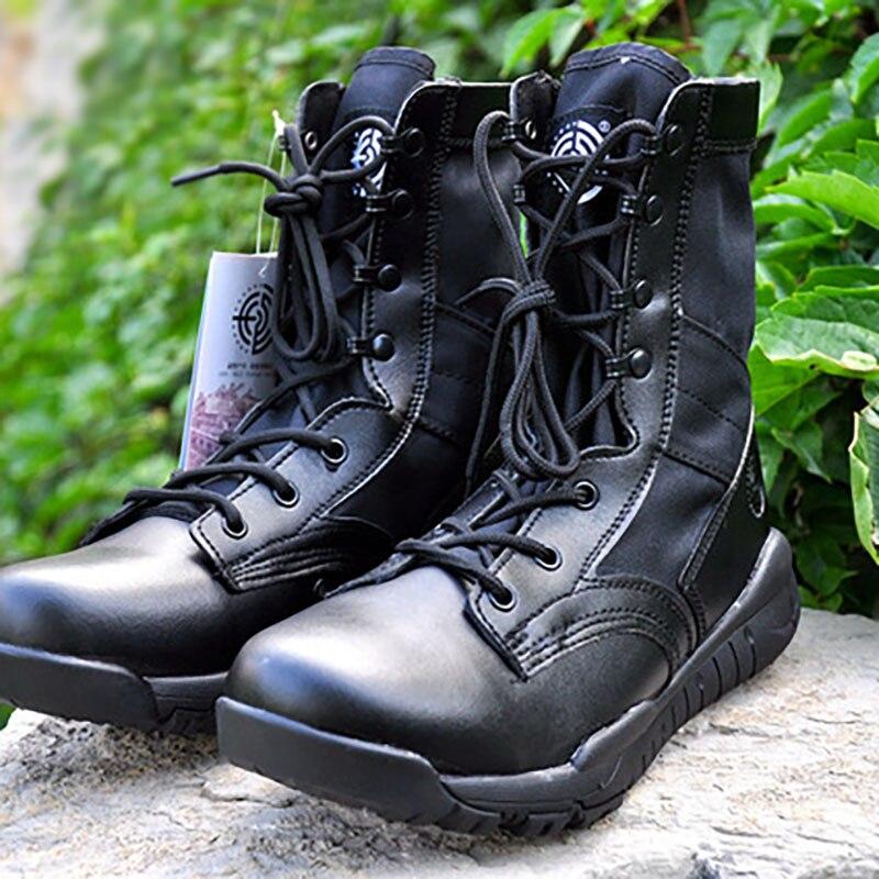 Masorini, botas militares de arena negra, botas de cuero de PU para hombre, calzado táctico de camuflaje para exteriores, calzado para escalar WW-085