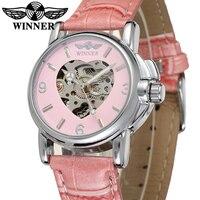 Fashion WINNER Brand Pink Cute Automatic Women Watch Female Dress Mechanical Watch Heart Shaped Skeleton Wristwatch Collocation