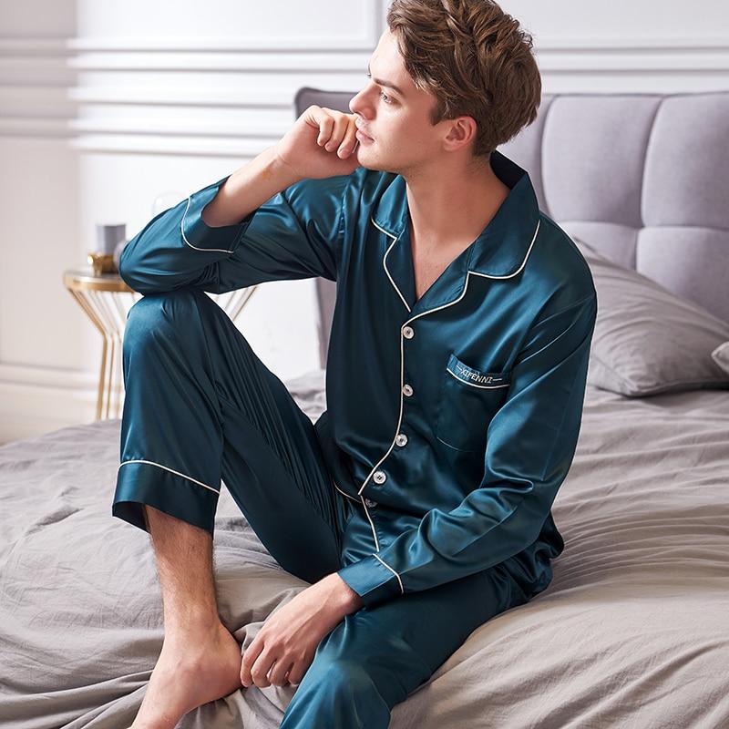Искусственный шелк пижамы мужские 2020 осень новинка шелковистая лед шелк одежда для сна мужская с длинным рукавом однотонная цвет пижама комплекты X9002