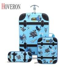 Ensemble 3 pièces enfants roulant sacs décole fille garçon boîtier de chariot enfants valise de voyage école enfant Trolley sacs à roulettes