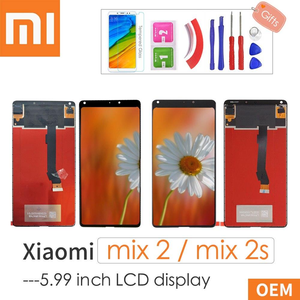 "5.99 ""para xiao mi x 2 s mi x2s display lcd + tela de toque digitador assembléia substituição para mi x 2 mi x2 com presentes"