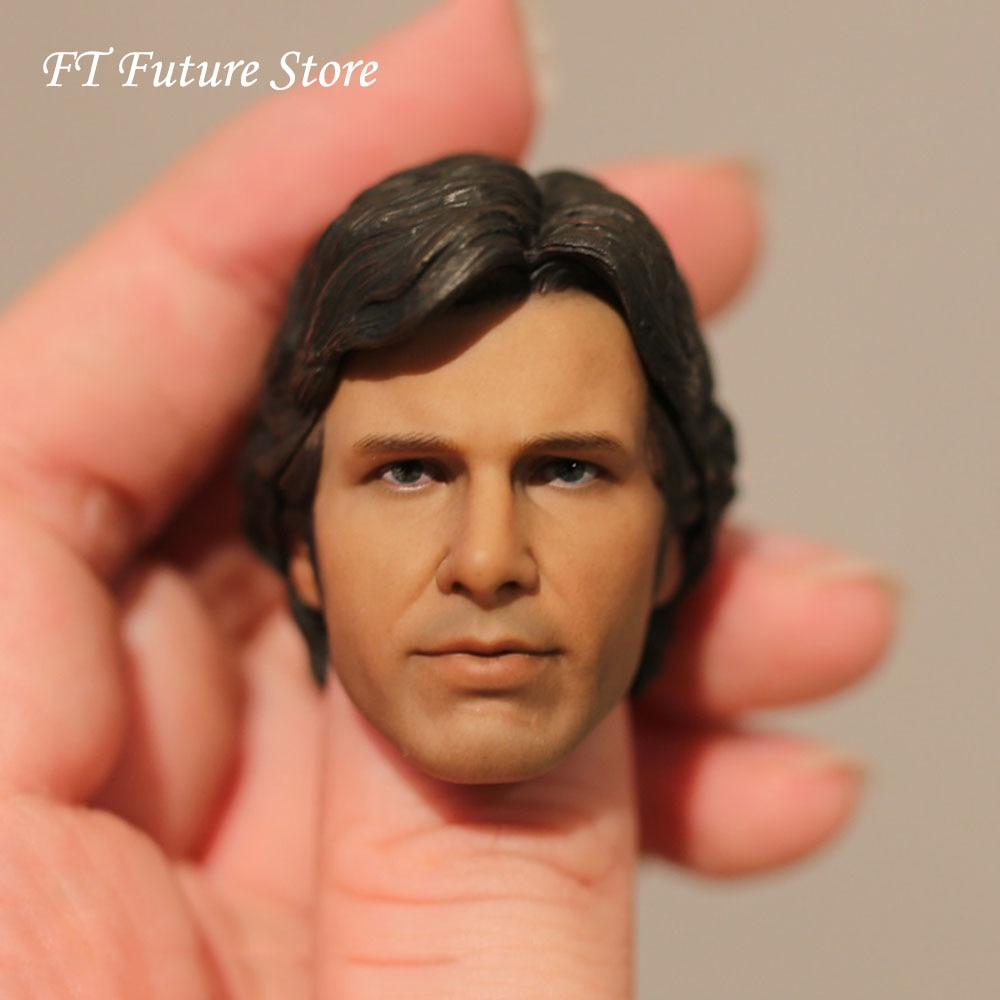 Collectible 1/6 Scale Custom New Hope Male Head Sculpt Harrison Ford Head Carving Model for 12'' Action Figure Body Accessory