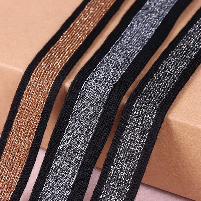 10 yardas de alambre plateado/dorado de 20mm, tejido de algodón mercerizado para ropa, costura, pantalones, manga, cinta lateral, artesanía hecha a mano