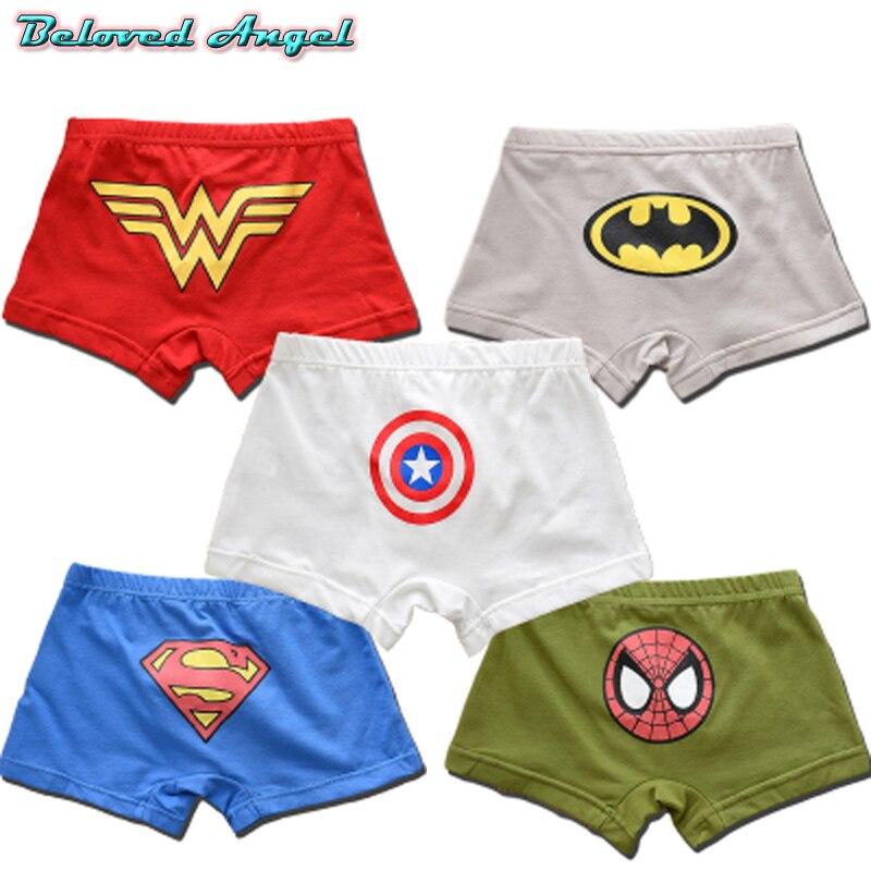 5 unids/lote Boxer para niños 2019 ropa interior de algodón para niños Spiderman ropa interior para niños bragas de niño de dibujos animados pantalones cortos para NIÑOS 2-13 años