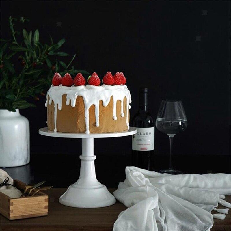 Soporte de Metal para pastel de hierro, Soporte redondo para postre de Pedestal, estante de exhibición para cupcakes, artículos para hornear, decoración blanca para fiesta de cumpleaños o boda