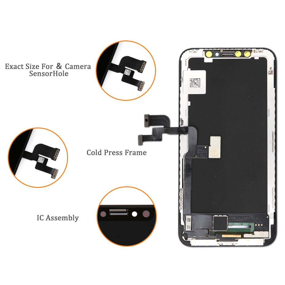 OLED For iPhone X LCD Display OLED With 3D Touch Screen Digitizer Assembly For iPhone X OLED 5.8 Inch Repair Part Free Tools enlarge