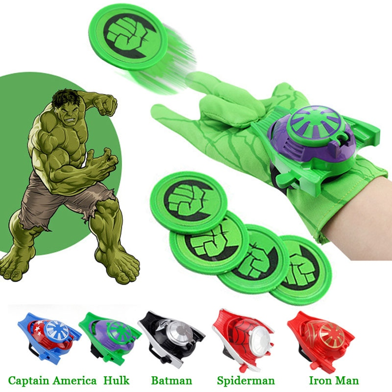 Superhéroes disfraz Cosplay capitán hombre araña América Batman Hulk Iron Man guantes juguete lanzador mejor regalo de Navidad para niños