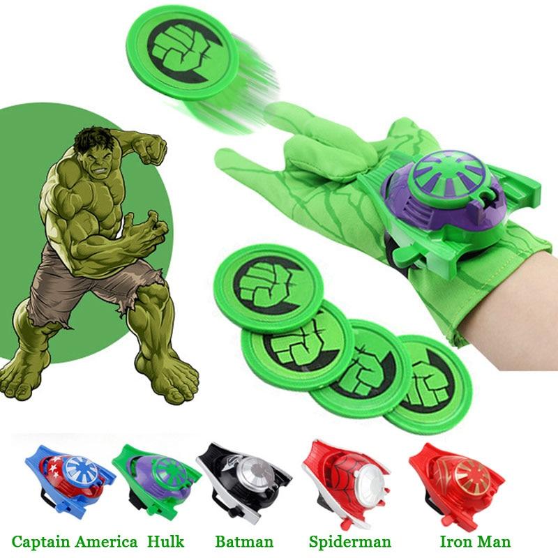 Superheroes Cosplay Costume Spider Man Captain America Batman Hulk Iron Man Gloves Launcher Toy Best Children Christmas Gift
