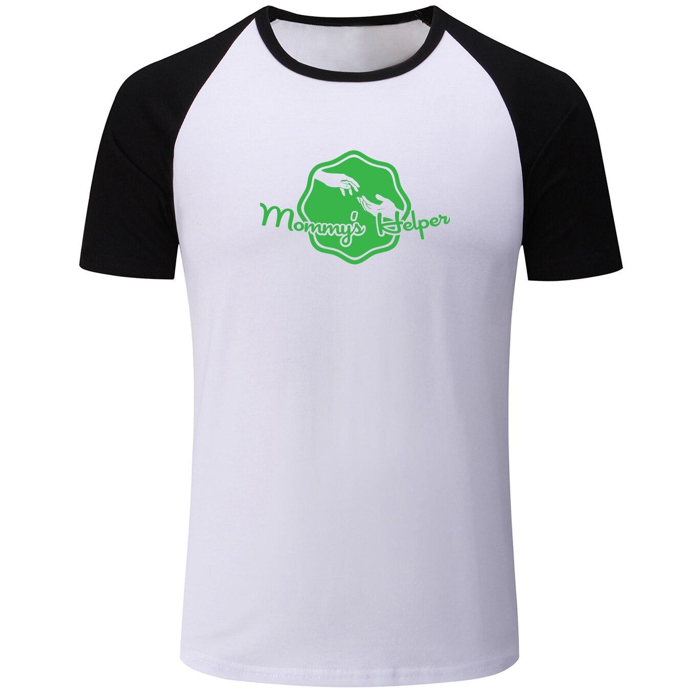 Okayest del mundo mamá papá o mamá y yo ayudante de mamá Mens verano camiseta niños gráfico Tee Casual Raglan camisetas