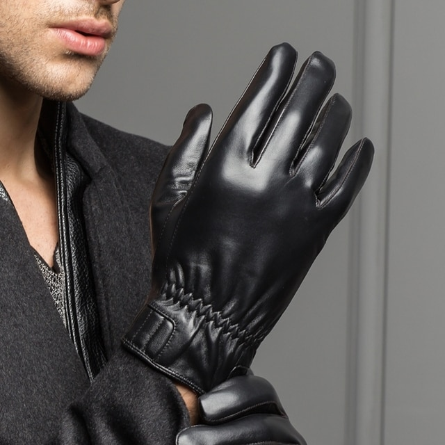 2020 Winter Male Genuine Leather Black/Thin Gloves Man Short Design Real Sheep Skin Car Driving Motocycle Outdoor Suede Mittens