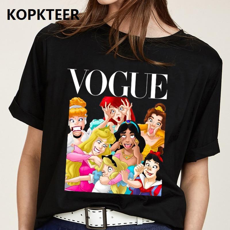 Women Clothes 2019 New Cotton Harajuku Tshirt Fashion Smile Princess Print Aesthetics Tee Shirt Femme Vogue Tops Camiseta Mujer