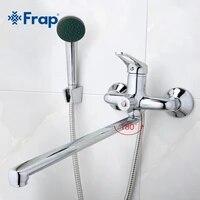 Frap mitigeur de salle de bains 40cm  en acier inoxydable avec sortie a long nez  robinet de douche en laiton F2213